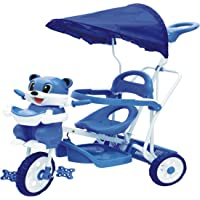 Stepupp Tricycle for Kids Blue Colour with Parent Handel or Music or Front Back Basket with Canopy Baby Tricycle for Baby boy or Baby Girl Kids trikes or Toddler Tricycle for 1,2,3,4 Years Kids (502)