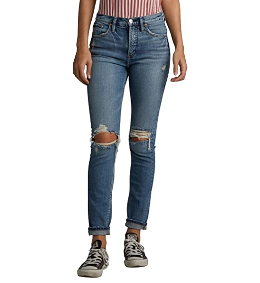 2a25bd083c7 Amazon.com  Silver Jeans Co. Women s Frisco High Rise Tapered Leg  Clothing