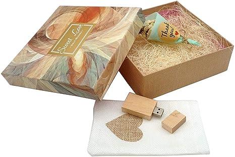 LuckCRAZY - Memoria USB USB 2.0 de madera con caja de regalo (16 GB, FMFK-Sweet Love Box): Amazon.es: Electrónica