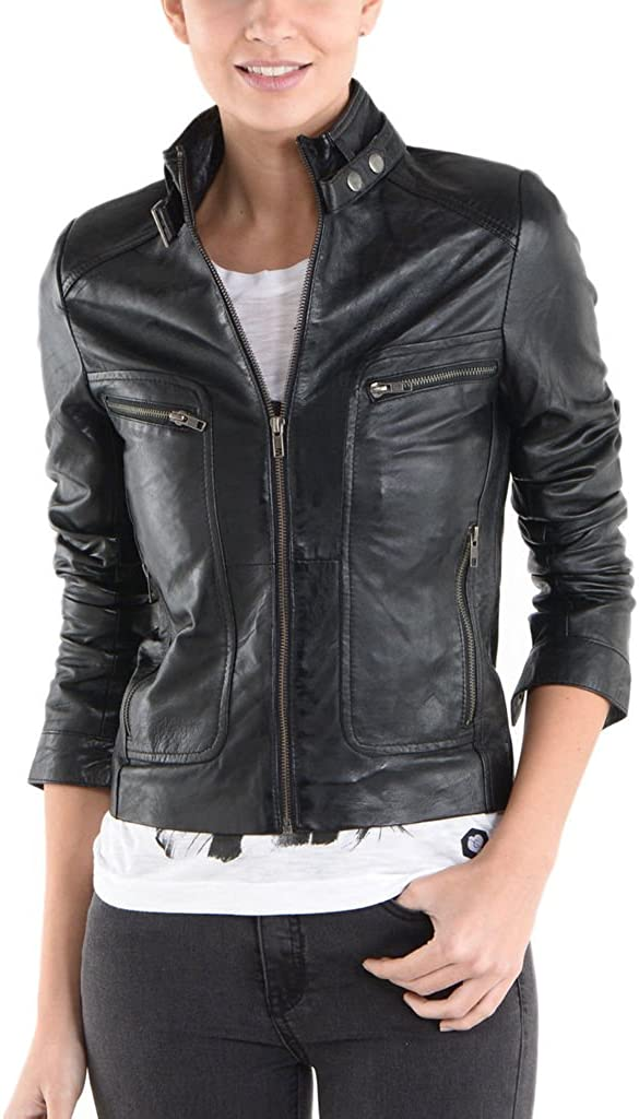 New Womens Motorcycle Genuine Sheep Leather Party Jacket LFW262