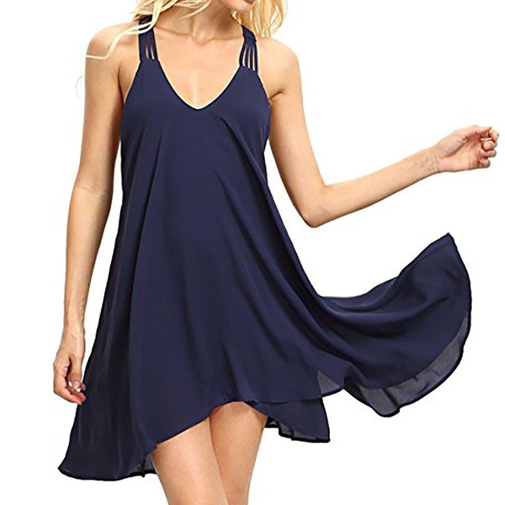 LIMITA Kleid Damen Sommer Damen Kleider Sommerkleid Damen Casual Ärmellos T-Shirt Kleid Kurzen Blumen Bedrucktes Strandkleider