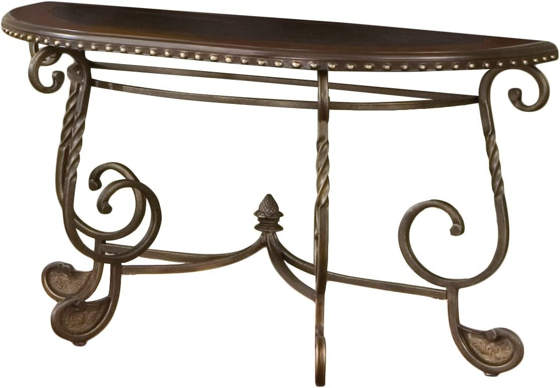Steve Silver Company Rosemont Table, 49 x 19 x 30 , Medium cherry and antique brass finish