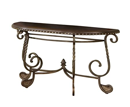 Steve Silver Company RM200S Rosemont Table, 49 x 19 x 30 , Medium Cherry and Antique Brass Finish
