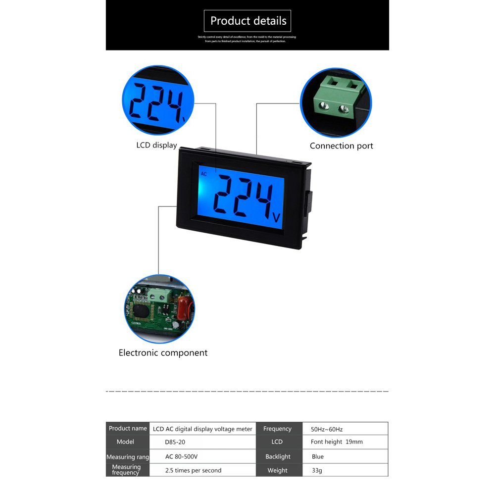 Elecall Ac80 500v Lcd Digital Voltmeter Voltage Panel Design Of Clock Circuit In The 50 Hz 220 Meter Mini Ammeter Amp Volt Current Tester With Led Display White