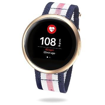 MyKronoz ZeRound2HR Premium - Smartwatch con Monitor de Ritmo cardíaco, micrófono Incorporado y Altavoz, Color Oro Rosa