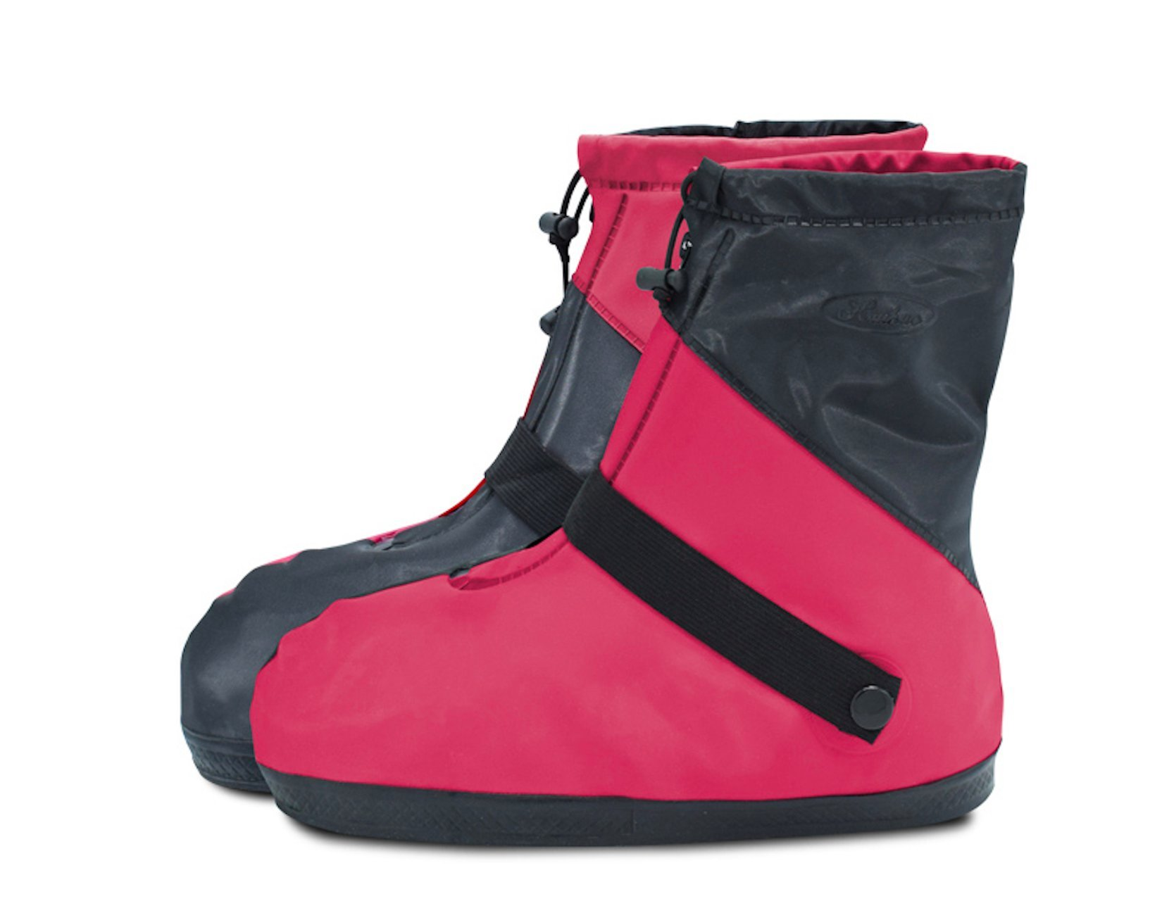 ARUNNERS Rain Boots Shoes Covers Overshoes Galoshes Wellies Gumboots Travel for Women Men (M, Black & Red)