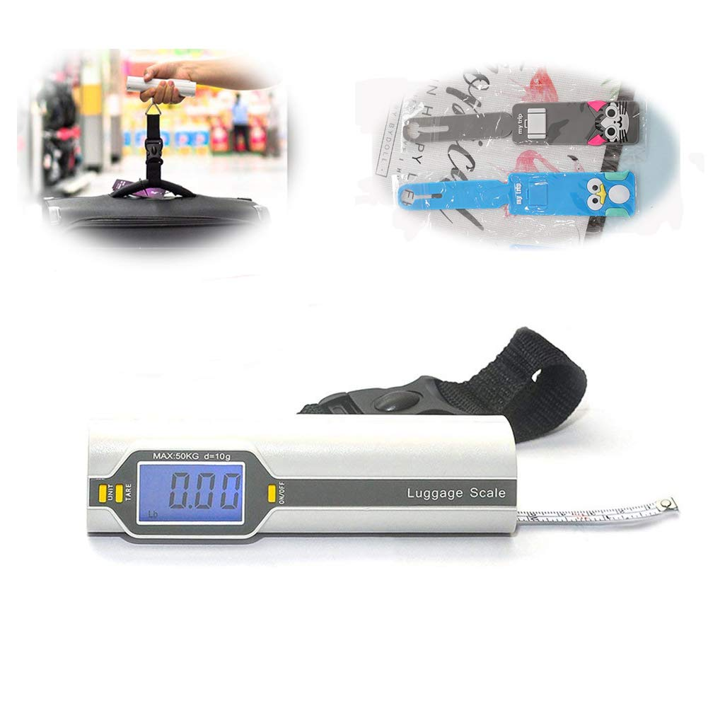 Luggage Scale Handheld, Portable Digital Luggage Scale with Tape Measure,110LB/50kg, Backlit LCD Display,Hold Function,Batteries Operated + Luggage Tags