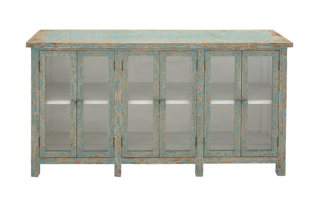 Deco 79 60136 Wood Glass Console Cabinet 58 x 33