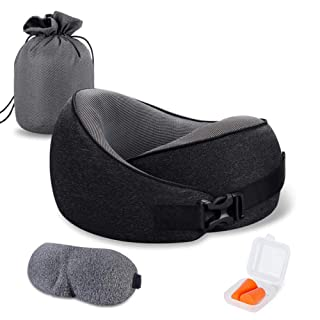 VISHNYA Travel Pillow Pure Memory Foam Neck Pillow, Comfortable & Breathable Cover, Machine Washable, Airplane Travel Kit with 3D Contoured Sleep Masks, Earplugs, and Luxury Bag, Standard, Black