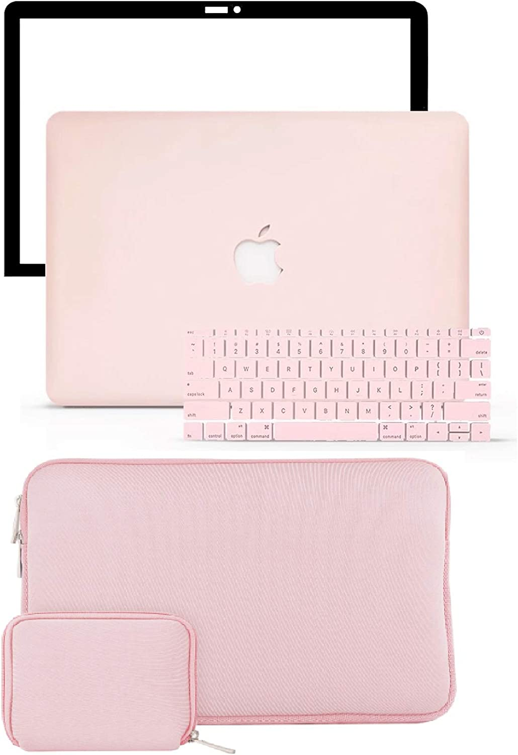 "LuvCase 4 in 1 Laptop Case for MacBook Pro 13"" (2016-2020) w/wo Touch Bar A2159/A1989/A1706/A1708 Hard Shell Cover, Slim Sleeve, Pouch, Keyboard Cover & Screen Protector (Rose Quartz)"