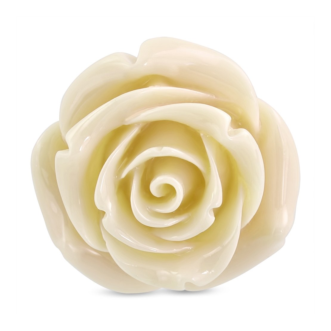 Stainless Steel Cream Ivory Resin Single Bloom Rose Flower Comfort Fit Cocktail Ring