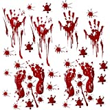 Halloween Decorations Party Stickers, 10 Sheets Horror Bloody Handprints Footprints Decals, Halloween Decor Vampire Zombie Party Supplies Stickers (80 Pcs) with Plastic Scraper