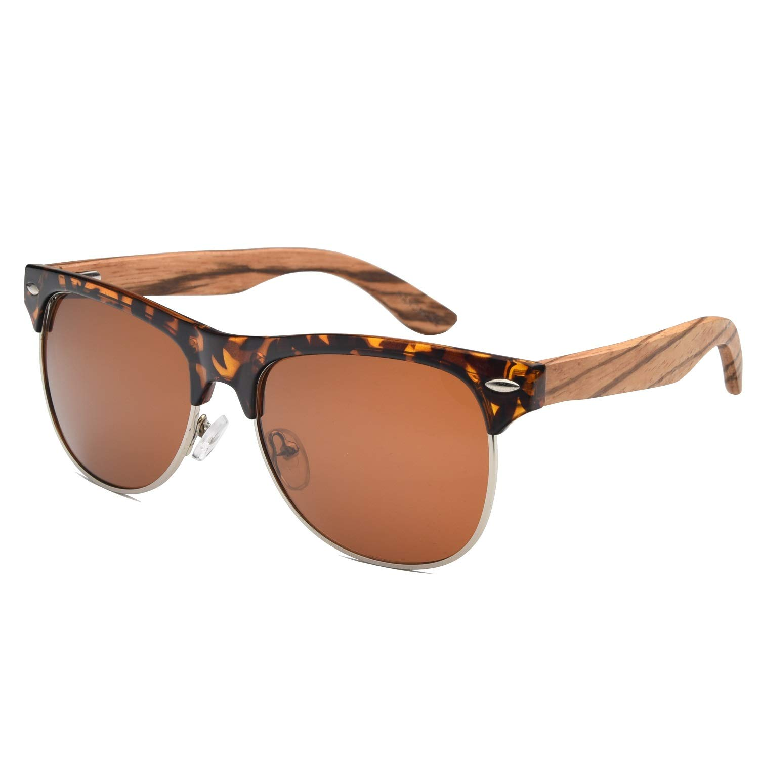 d23191fe65f Amazon.com  Ablibi Polarized Semi Rimless Wooden Bamboo Sunglasses for Mens  Womens Best Gifts  Clothing