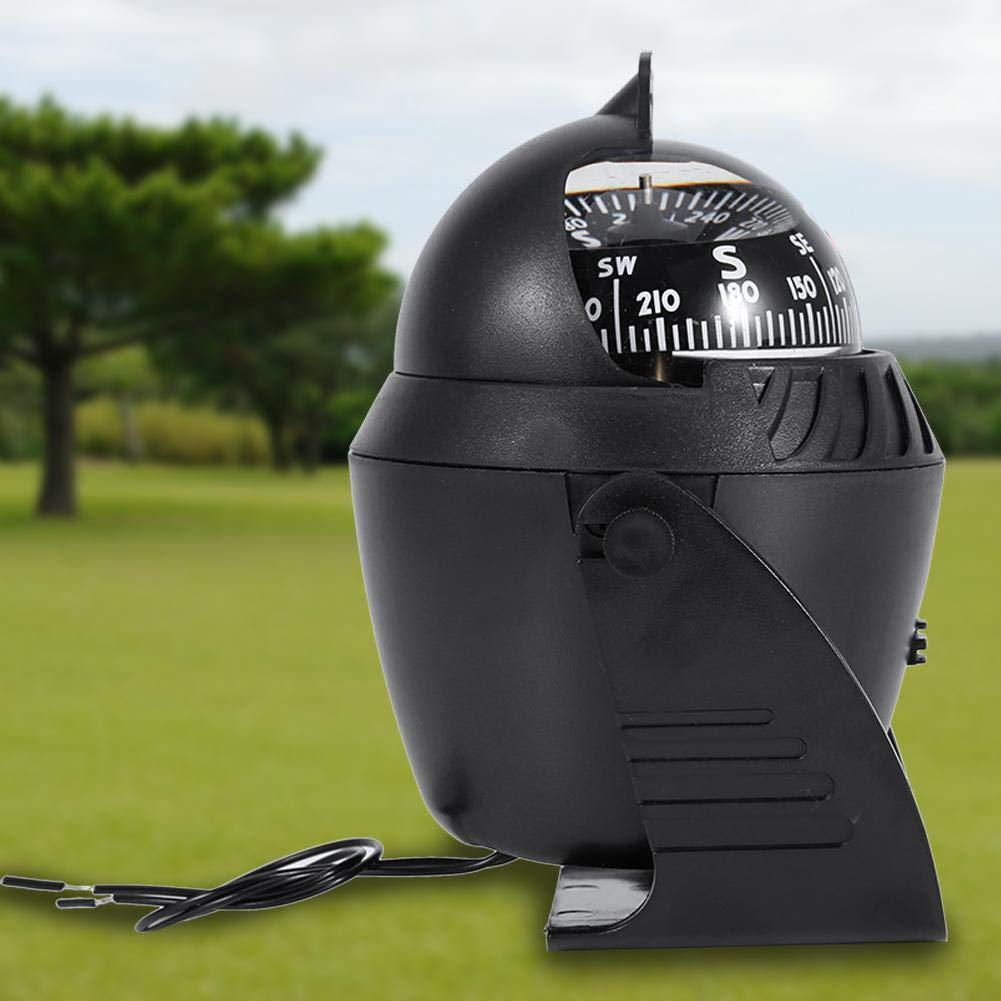 Filfeel lumi/ères LED Lumineux Light Up pivotant Boussole /électronique digital Boussole de navigation pour bateau Camion de voiture Noir