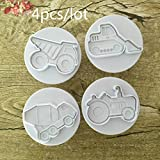 4Pcs/Set Vehicle Theme Trucks Cake Cookie Plastic Plunger Cutters Candy Molds