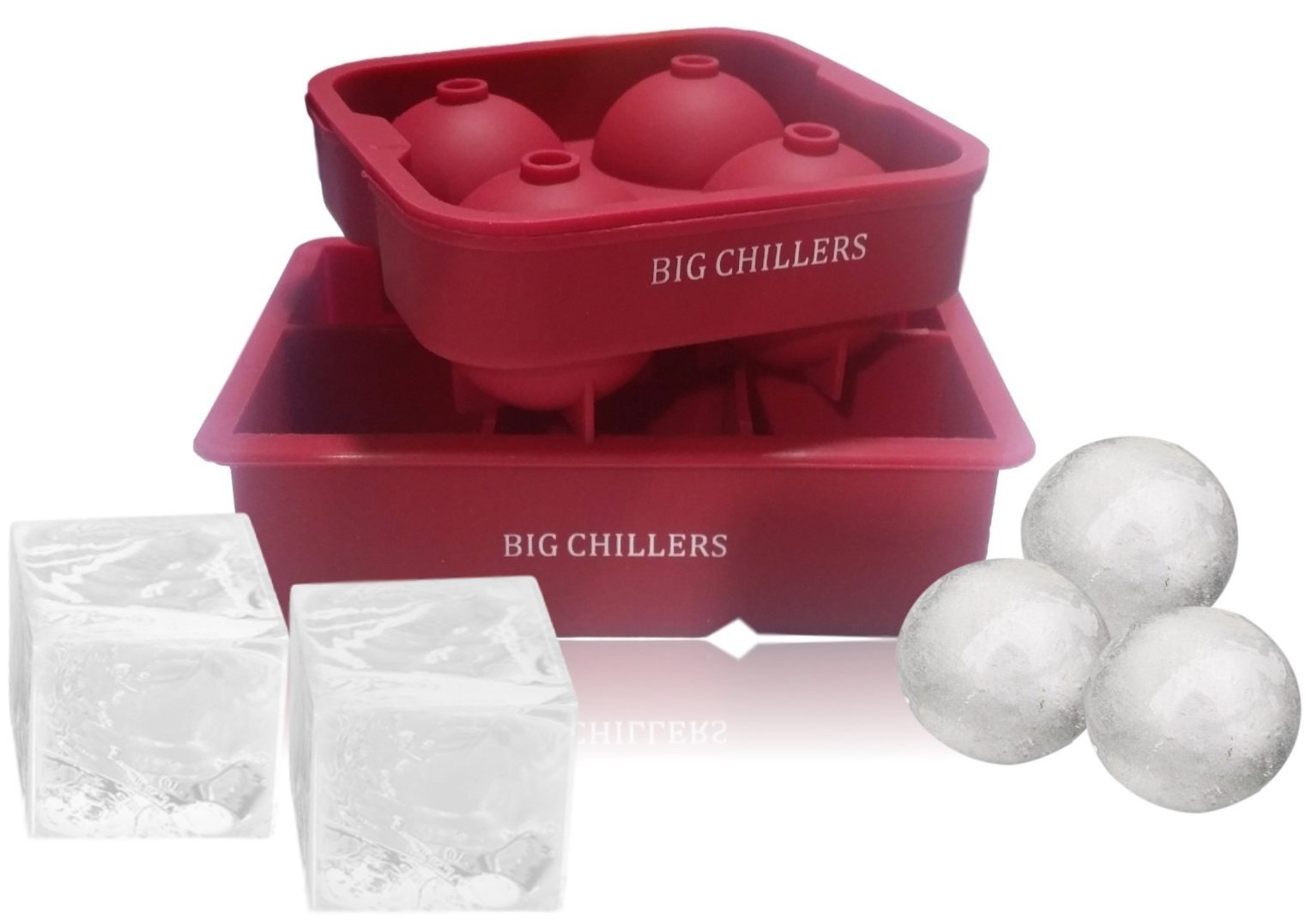 Ice Ball Maker and Cube Mold Trays Silicone - BPA Free - Combo Large Square and Sphere Round Silicone Molds Shapes for Whiskey Ice, Cocktails, Beverages