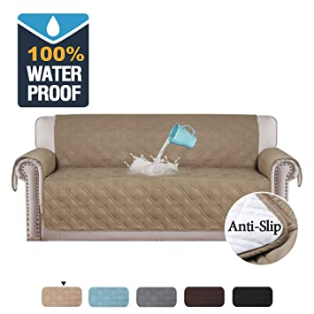 H.VERSAILTEX 100% Waterproof Couch Covers for Sofa Slip Resistant Couch Protectors Sofa Covers for Living Room Furniture Protector for Dogs Protect ...