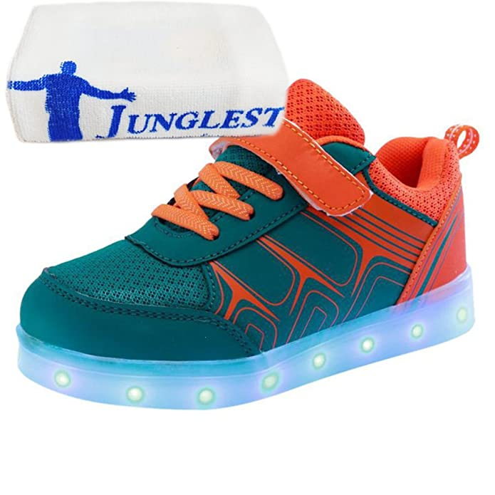 (Present:kleines Handtuch)Gelb EU 34, Sportsschuhe LED Mädchen Light Sneakers Klettverschluss Fluoresce