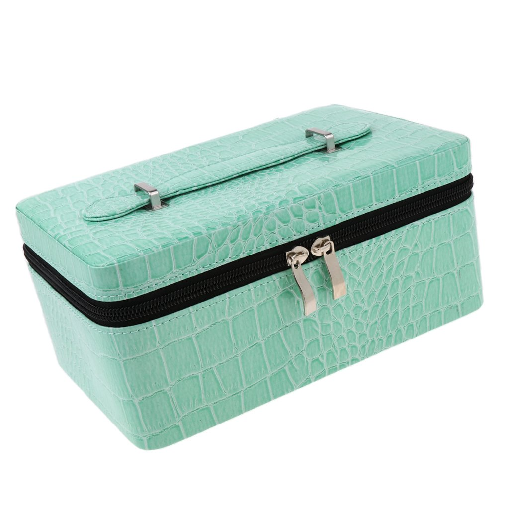 Baoblaze Portable 84 Slots Large Essential Oil Storage Bag PU Travel Case Display Container Zipper Closure Bag For 2ml 5ml 10ml 15ml Bottles - Green