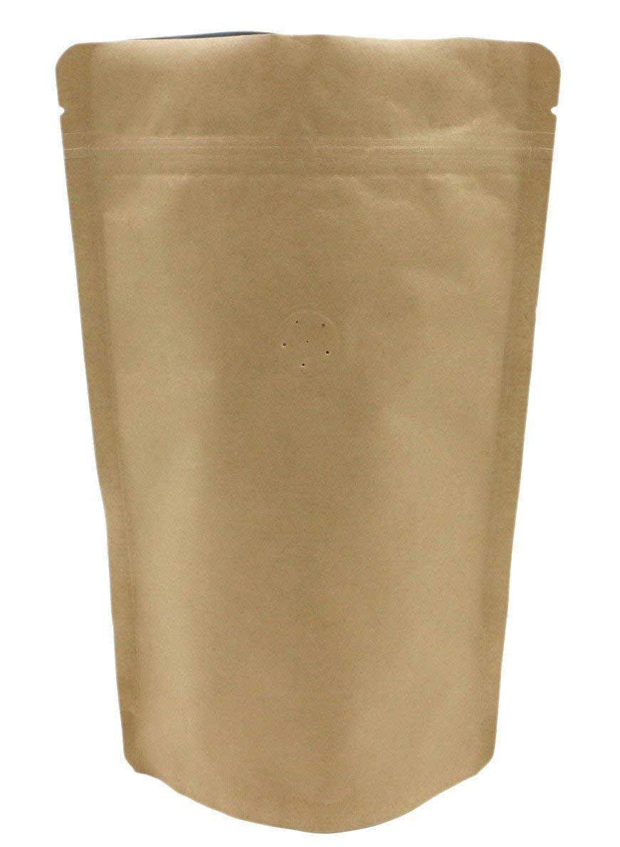 250g/8oz Kraft Paper Stand up Zipper Coffee Bags Pouches with Valve (50)