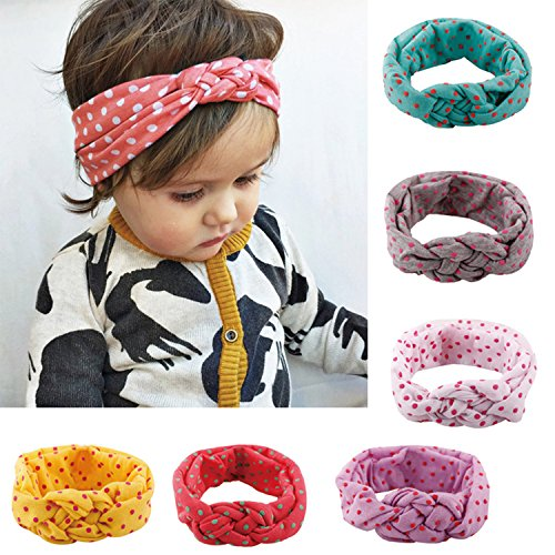 Baby Girl Multicolor Hair Hoops Headbands,Solid Bunny Ears,Bow Headbands(6 PACK)