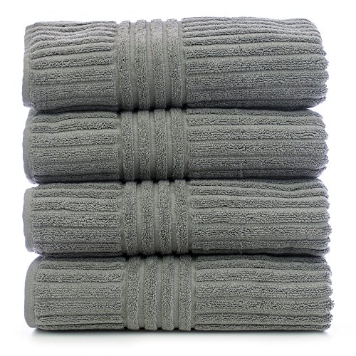 Bare Cotton Luxury Hotel & Spa Towel Turkish Cotton Towel Set Bath Towel, Striped, Gray, Set of 4 ()