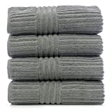 Bare Cotton Luxury Hotel & Spa Towel 100% Genuine Turkish Cotton Towel Set Bath Towel, Striped, Gray, Set of 4
