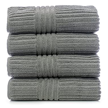 Bare Cotton Luxury Hotel & Spa Towel Turkish Cotton Towel Set Bath Towel, Striped, Gray, Set of 4