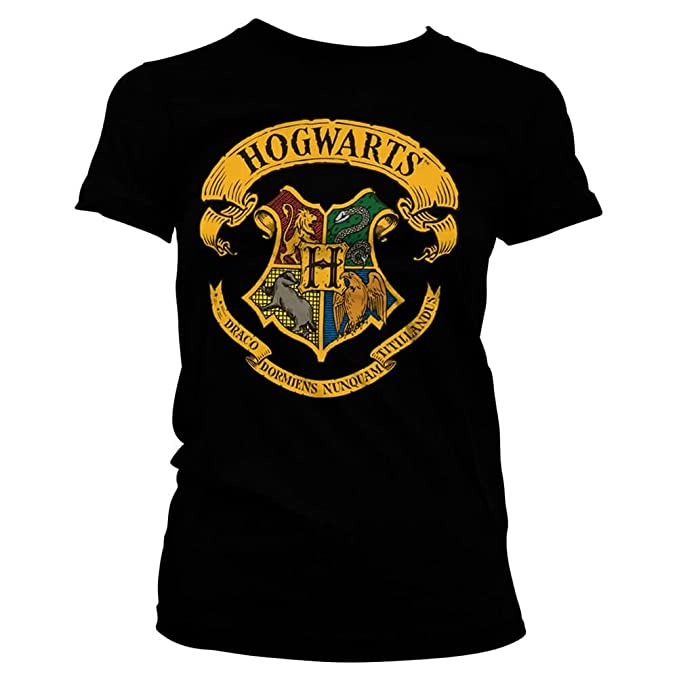 HARRY POTTER T-Shirt Aderente con Stemma della casa Hogwarts