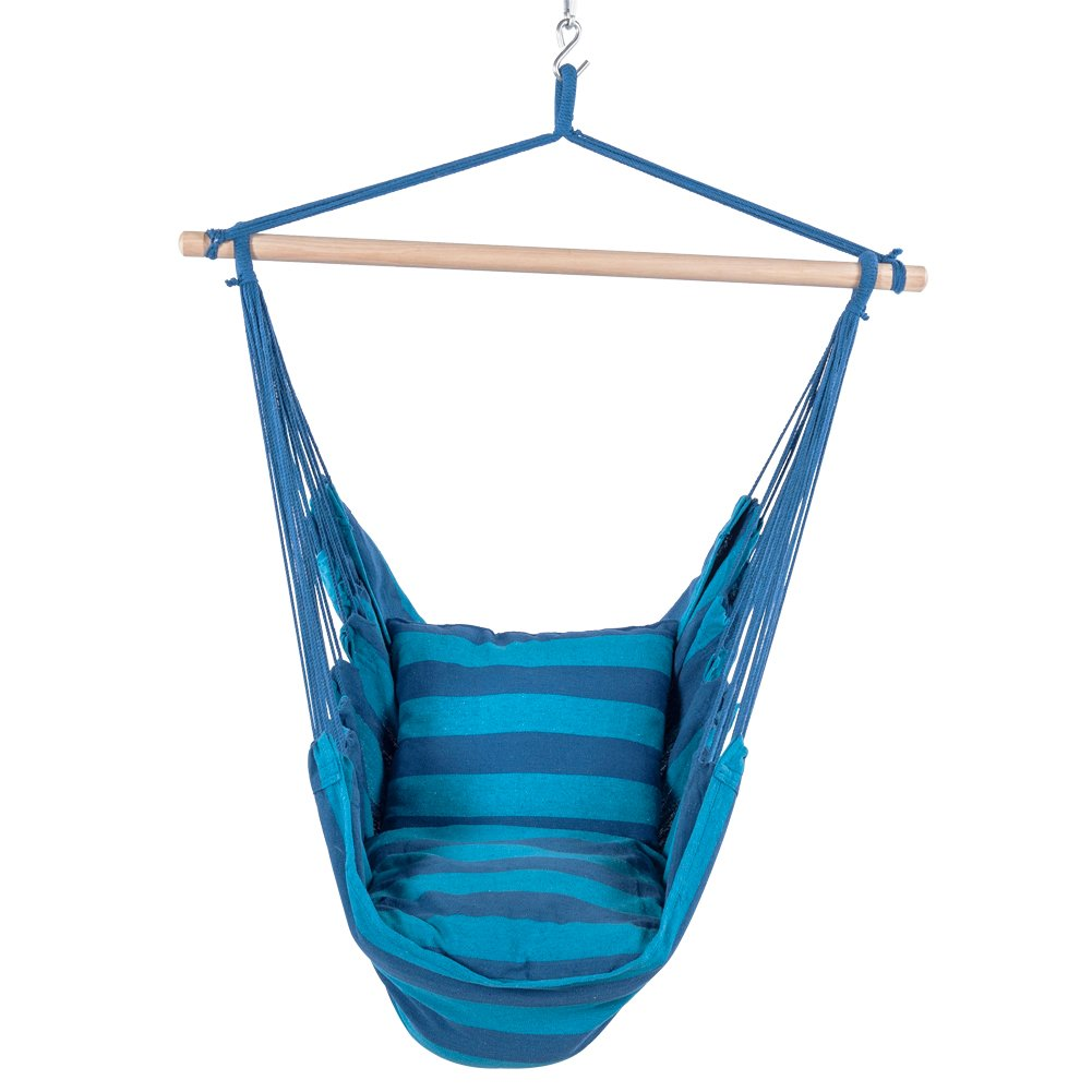 Lazy Daze Hammocks Hanging Rope Hammock Chair Swing Seat with 2 Seat Cushions, Weight Capacity 300 Lbs (Seaside Stripe)
