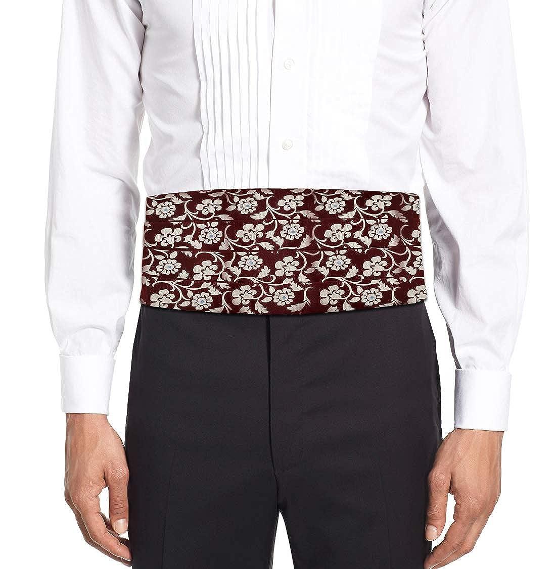 Remo Sartori Made in Italy Mens Burgundy Flower Cummerbund Tuxedo Belt Silk 4 Folded