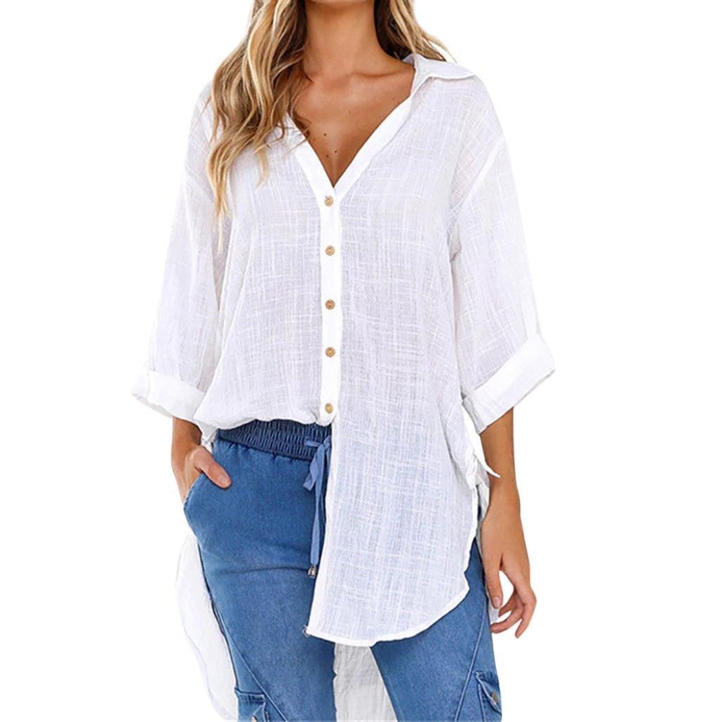 Ningsun Moda da Donna Sciolto Pulsante Lunga Camicia Vestito Cotone Le Signore Casuale V-Neck Top Camicetta T-Shirt/Casual Maniche Lunghe Tops Eleganti Fashion
