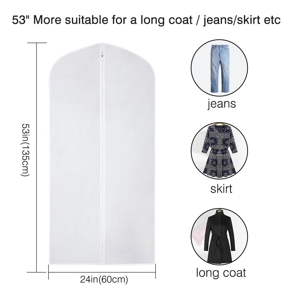 Etmury Garment Bags 6 Pack PEVA Clear Hanging Clothes bag for Clothing Suits or Dresses Closet Storage and Travel with Full Zipper Translucent Moth-Proof(24'' x 43 ''/ 50'') by Etmury (Image #3)