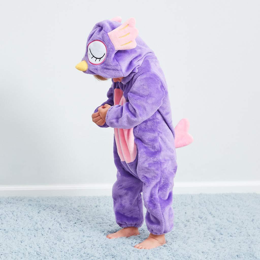 Adagod Owl Newborn Baby Girl Boy Cartoon Animal Hooded Flannel Romper Jumpsuit Warm Clothes