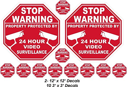 12 Pcs Likely Unique Stop Warning Property Protected by 24 Hour Video Surveillance Stickers Sign Security Fence Yard Signs Under Cameras Protect Outdoor Lawn Home Trespassing Decor 2-Large - Chart Ban