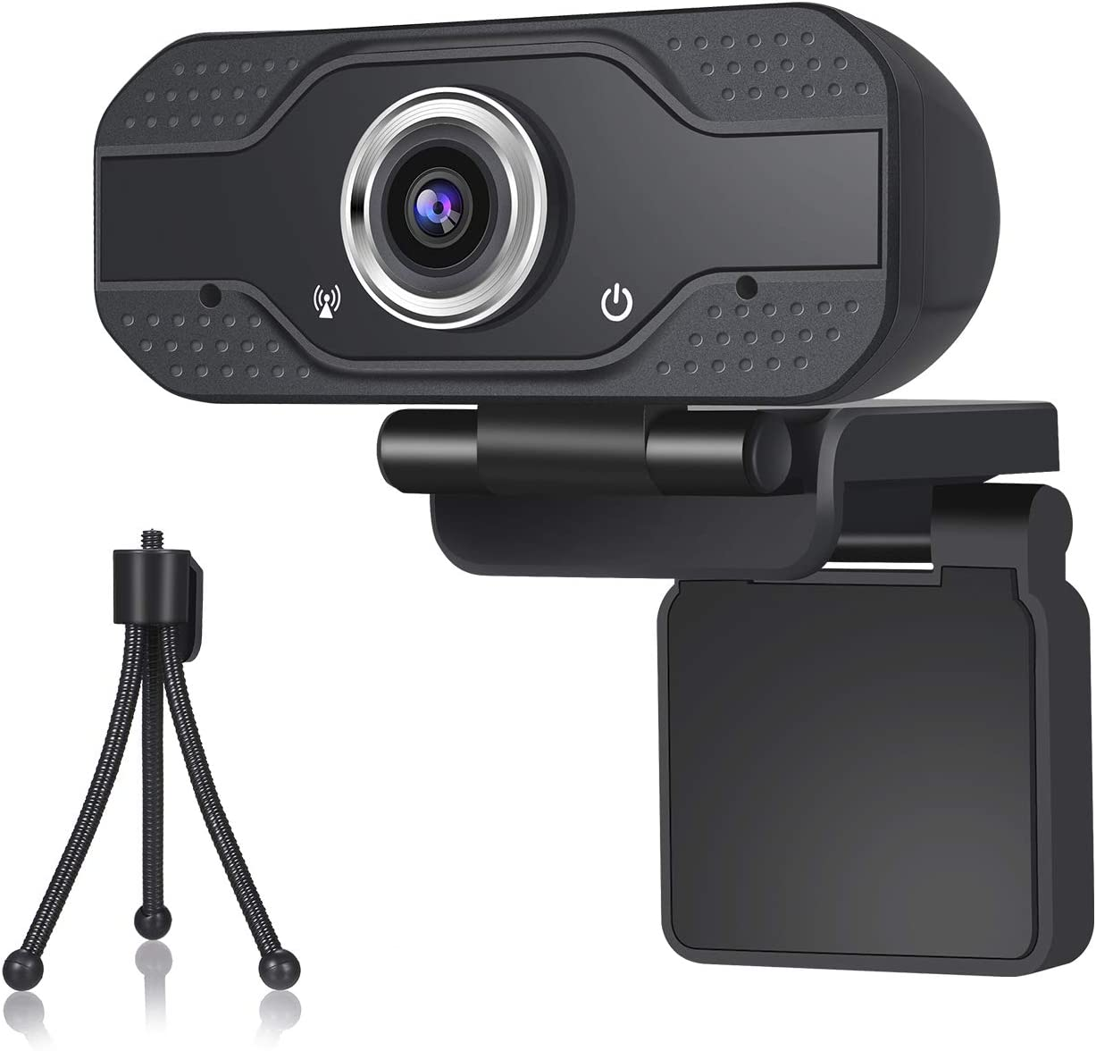 Pasavant Webcams with Microphone Web Camera for PC,1080p Webcam USB Vidoe Camera with Tripod, Streaming Webcam for Computers/Laptop/PC,for Conference Study Video Calling Skype (Black)
