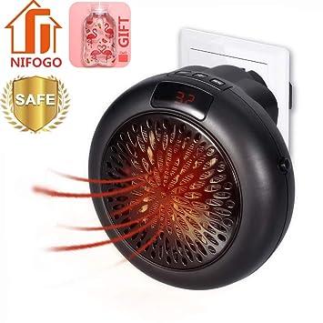 Mini Heater - Estufa Eléctrica Portatil 1000 W con Termostato Ajustable Tiempo Programable de 12 Horas Cierre Automático, para Hogar Oficina Baño (Negro): ...