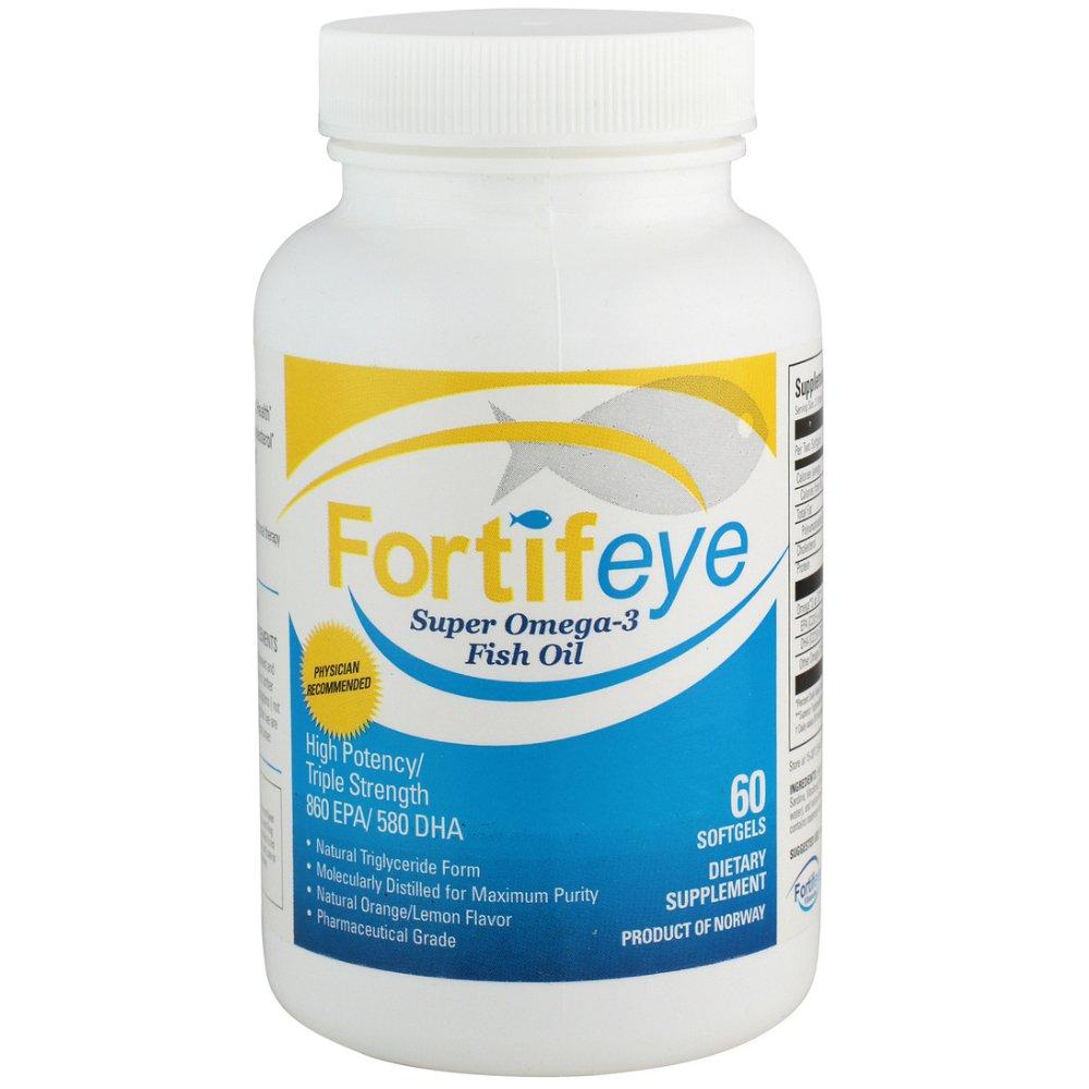 Fortifeye Vitamins Super Omega 3 Fish Oil, Natural Triglyceride Form Omega-3 Supplement, Triple Strength 860 EPA + 580 DHA Per Serving, 60 Softgel Capsules by Fortifeye Vitamins
