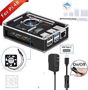 GeeekPi Raspberry Pi 4 Case with 5V 3A USB-C Power Supply, Raspberry Pi Case with Fan & 4PCS Raspberry Pi Heatsinks for Raspberry Pi 4 Model B(Only for Pi 4)(All Black)