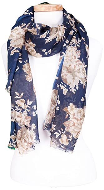 27645ac03 Tickled Pink Women's Vintage Floral Sheer Oblong Scarf, Navy One Size at  Amazon Women's Clothing store: