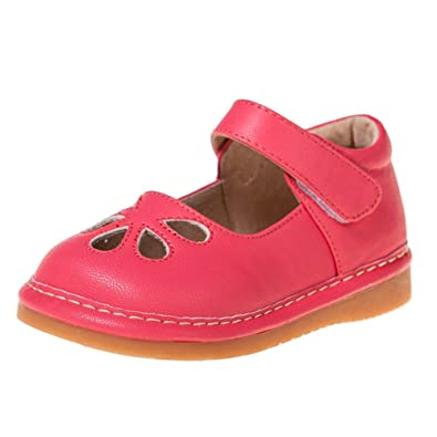 4d6d73b51c3289 HLT Toddler Little Kid Girl Flower Petals Hook Loop Strap Hot Pink Squeaky  Shoe  US