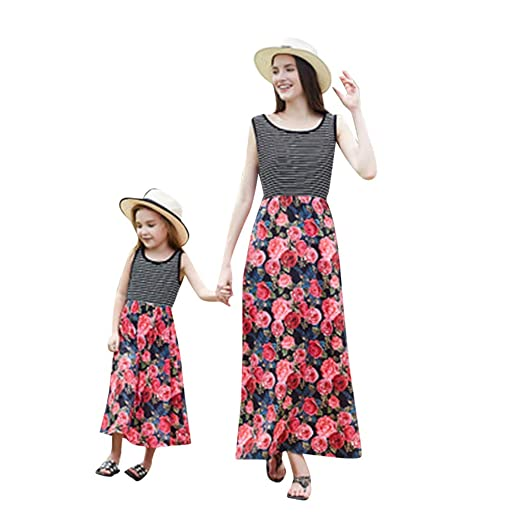 4b6cba1bf19bd Amazon.com: BSGSH Family Matching Dress Mommy and Me Striped Floral ...