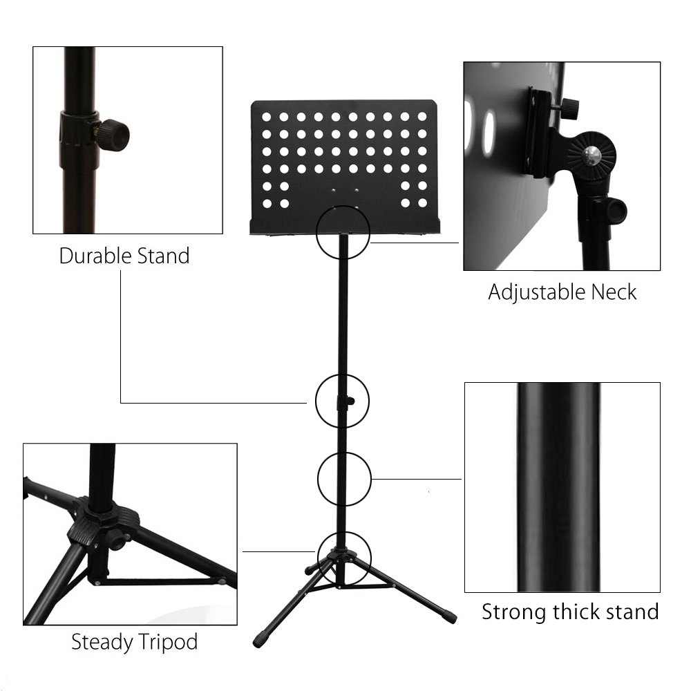 Maestro Extra Durable Metal Music Note Stand Orchestra Heavy Duty Tripod APL1281 by PARTYSAVING (Image #4)