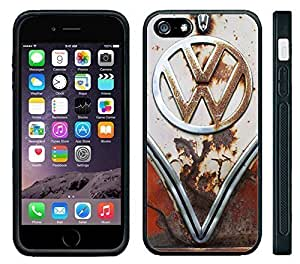Apple iPhone 6 Black Rubber Silicone Case - VW Bus Rusted Front End bumper grill Old School volkswagen bus