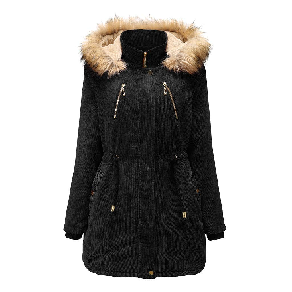 CrazyfashionWomen Girl Autumn Winter Jacket Hooded Warm Coat Long Sleeve Coat Black by crazy fashion