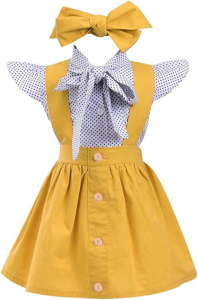 PAOLIAN Conjuntos para Niñas Blusas + Falda de Tirantes + Diadema ...