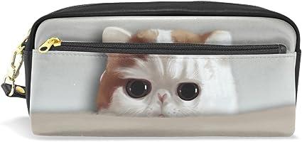 Estuche, gato pluma bolsa Maquillaje bolsa cartera gran capacidad impermeable Lovely de los estudiantes o mujeres: Amazon.es: Oficina y papelería