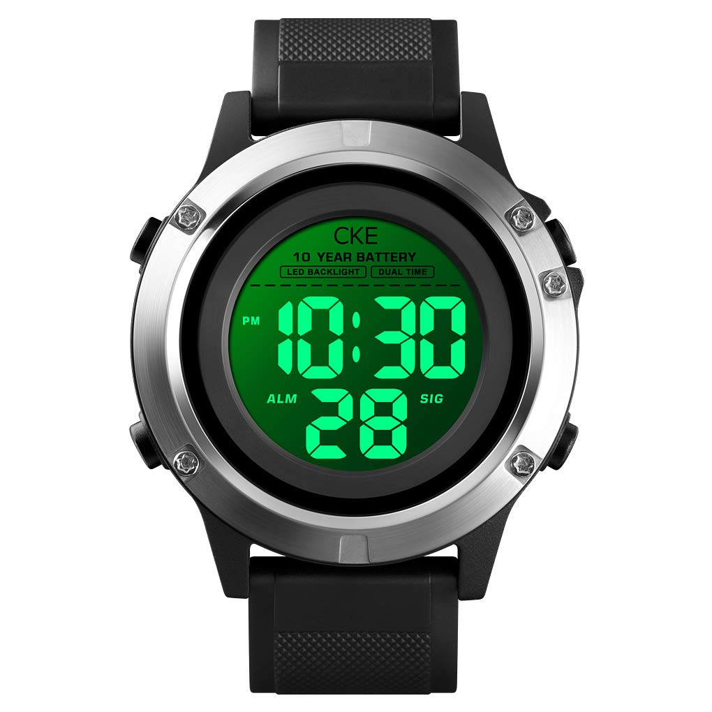 Men s Digital Sports Watch LED Screen Large Face Military Electronic Waterproof Wrist Watch for Men with 10 Years Standby Stopwatch Alarm Back Light Outdoor Watches