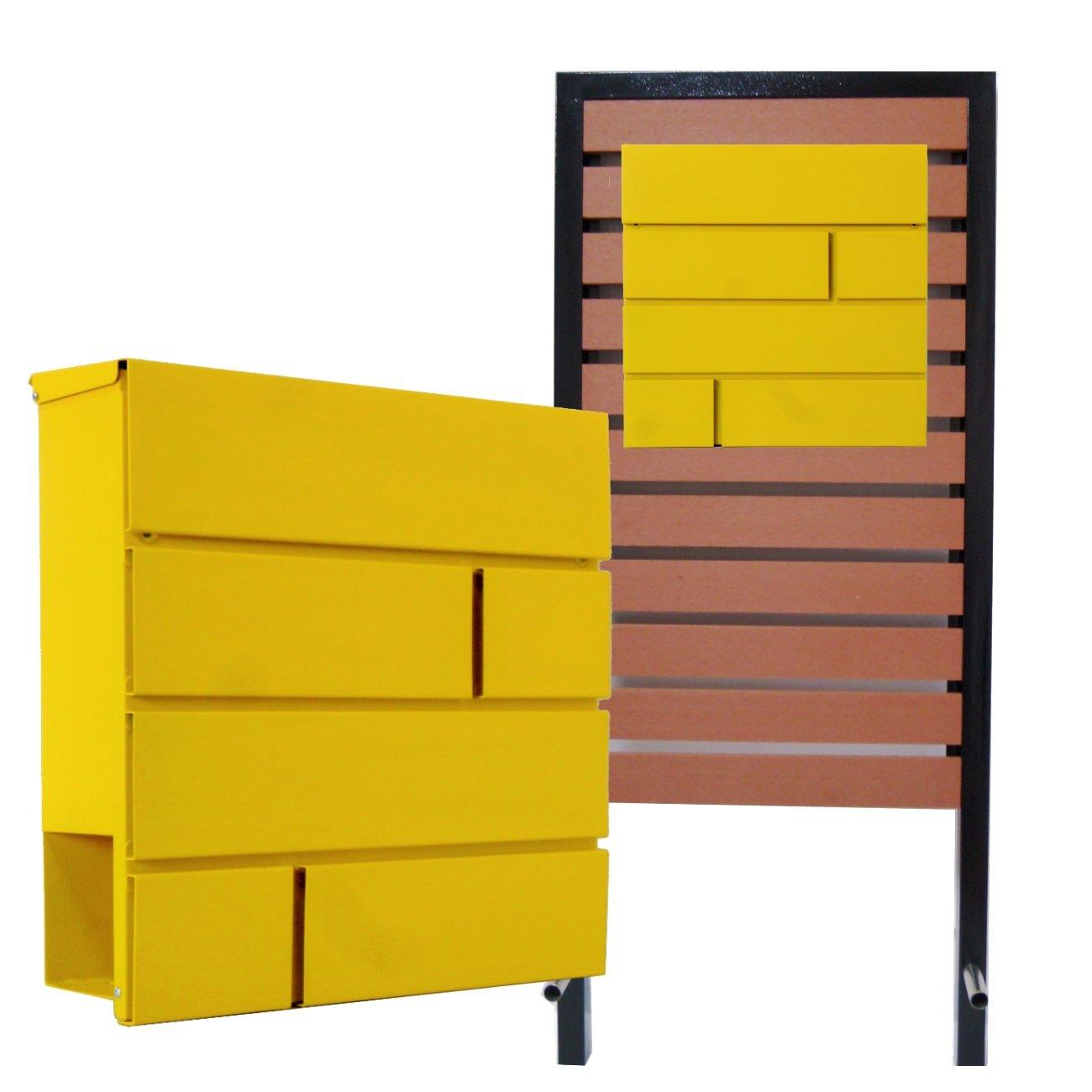 郵便ポスト スタンド付 壁掛け鍵付きマグネット付きイエロー黄色ポスト pm18s-pm234 B076HHGD9K 24880