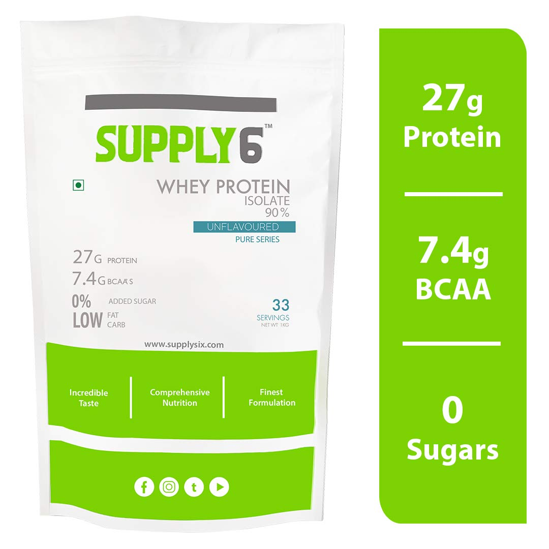 Supply6 90% Whey Protein Isolate - 1 Kg (Unflavoured) (B07P95WY3K) Amazon Price History, Amazon Price Tracker
